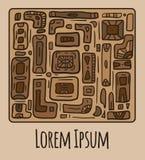 Kartka z pozdrowieniami z plemiennym doodle wzorem od geometrycznych kształtów Fotografia Royalty Free