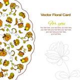 Kartka z pozdrowieniami, pocztówka, Ornamentuje Kwiecistego, próbka tekst Zdjęcia Stock