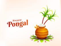 Kartka z pozdrowieniami projekt dla Szczęśliwego Pongal festiwalu świętowania harv royalty ilustracja