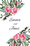 Kartka z pozdrowieniami z różami, akwarela, może używać jako zaproszenie karta dla poślubiać, urodziny, inny lata tło i wakacje,  royalty ilustracja
