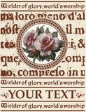 Kartka z pozdrowieniami. Róże. Piękna rama. Fotografia Royalty Free