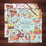 Kartka z pozdrowieniami Ręka rysujący musical bezszwowy Obrazy Royalty Free