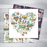 Kartka z pozdrowieniami Ręka rysujący musical bezszwowy Obraz Stock