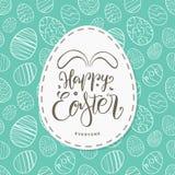 Kartka z pozdrowieniami z ręki rysującymi jajkami, ręcznie pisany literowanie Szczęśliwa wielkanoc Everyone z królików ucho ilustracja wektor