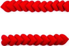 Kartka z pozdrowieniami rama czerwoni serca na białym tle z kopii przestrzenią i używać jako walentynki ` s dnia pojęcie, Zdjęcia Royalty Free