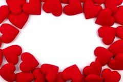 Kartka z pozdrowieniami rama czerwoni serca na białym tle z Co Zdjęcia Royalty Free