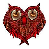 Kartka z pozdrowieniami z sercem - osiadła śliczna sowa w miłości, walentynki s dniu lub ślubnych gratulacjach, Obrazy Stock