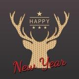 Kartka z pozdrowieniami z sylwetką rogacz dla bożych narodzeń i nowego roku ilustracja wektor