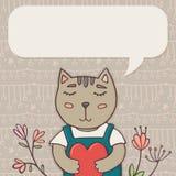 Kartka z pozdrowieniami szablon z kotem i miejsce dla teksta Obraz Stock