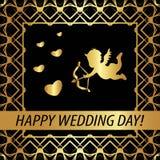 Kartka z pozdrowieniami & x22; Szczęśliwy dzień ślubu! & x22; Obrazy Royalty Free
