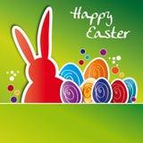 Kartka z pozdrowieniami szczęśliwy Easter, kolorowi Wielkanocni jajka Obrazy Royalty Free