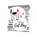 Kartka z pozdrowieniami z tekstem «Światowy kota dzień « Ikona metis traken ilustracja wektor