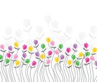 Kartka z pozdrowieniami tulipanowi kwiaty Zdjęcia Stock