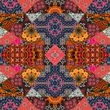 Kartka z pozdrowieniami w boho stylu Piękny patchworku wzór Zdjęcie Royalty Free