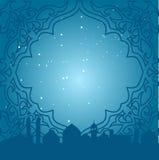 Kartka z pozdrowieniami w języka arabskiego stylu Wschodnia rama z błękitnym tłem z meczetami Obraz Stock