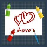 Kartka z pozdrowieniami walentynek dzień Szkarłatni serca rysujący na prześcieradle farba Tubki farba, muśnięcia, papier, matowy  ilustracja wektor