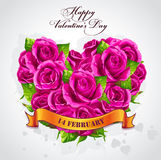 Kartka z pozdrowieniami walentynki Szczęśliwy dzień z sercem róże Obraz Royalty Free