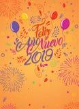 Kartka z pozdrowieniami z wiadomością: Feliz Ano Nuevo 2019 Karta dekorująca z balonami ilustracja wektor