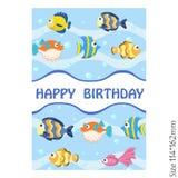 Kartka z pozdrowieniami wszystkiego najlepszego z okazji urodzin z kolorową ryba royalty ilustracja