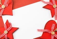 Kartka z pozdrowieniami z czerwoną boże narodzenie dekoracją Obrazy Royalty Free