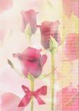 Kartka z pozdrowieniami z czerwonymi różami i tekstem na abstrakcjonistycznym tle Zdjęcia Stock