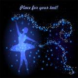 Kartka z pozdrowieniami z czułą baleriną Zdjęcie Royalty Free