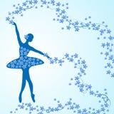 Kartka z pozdrowieniami z czułą baleriną i kwiatami Obrazy Stock
