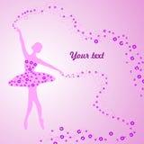 Kartka z pozdrowieniami z czułą baleriną trzyma a Zdjęcia Royalty Free