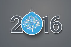Kartka z pozdrowieniami z dekorującym tekstem 2016 Zdjęcie Stock
