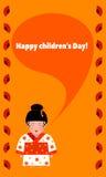 Kartka z pozdrowieniami z dziecka ` s dniem z obrazkiem dziewczyna w kimono tradycyjnym kostiumu Obraz Stock