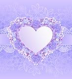 Kartka z pozdrowieniami z kierowym kształtem Kwiaty Fotografia Royalty Free