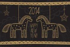 Kartka z pozdrowieniami z koniami na czarnym tle Obrazy Royalty Free