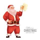 Kartka z pozdrowieniami z kreskówką Święty Mikołaj podnosi piwnego szkło Obrazy Stock