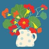 Kartka z pozdrowieniami z kwiatami i garnkiem jaskrawymi ilustracji