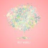 Kartka Z Pozdrowieniami Z Kwiatonośnym drzewem Fotografia Royalty Free