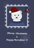 Kartka z pozdrowieniami z niedźwiedziem polarnym w Santa kapeluszu w openwork ramie abstrakcjonistycznych gwiazdkę tła dekoracji  Zdjęcia Stock