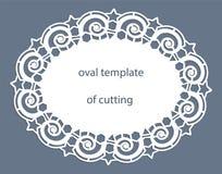 Kartka z pozdrowieniami z openwork owal granicą, papierowy doily pod tortem, szablon dla ciąć, poślubia zaproszenie, dekoracyjny  royalty ilustracja