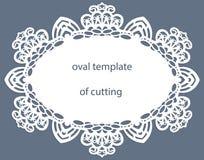 Kartka z pozdrowieniami z openwork owal granicą, papierowy doily pod tortem, szablon dla ciąć, poślubia zaproszenie, dekoracyjny  ilustracja wektor