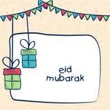Kartka z pozdrowieniami z prezentami dla Eid festiwalu świętowania ilustracja wektor