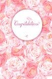 Kartka z pozdrowieniami z różowym róży tłem Skład z okwitnięcie kwiatami i literowanie z round miejscem i sztandarem ilustracja wektor
