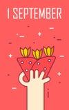 Kartka z pozdrowieniami z ręką i bukietem kwiaty Cienki kreskowy płaski projekt Fotografia Stock