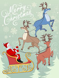 Kartka z pozdrowieniami z reniferami i Santa na saniu Fotografia Stock