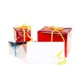 Kartka z pozdrowieniami z streamers trzy prezent Zdjęcia Royalty Free