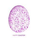 Kartka z pozdrowieniami z Szczęśliwą wielkanocą - z purpurami kwitnie Wielkanocnego jajko Zdjęcia Royalty Free