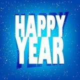 Kartka z pozdrowieniami z teksta szczęśliwym nowym rokiem śniegiem i Obraz Stock
