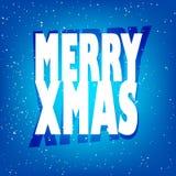 Kartka z pozdrowieniami z teksta szczęśliwym Wesoło Xmas i śniegiem Zdjęcia Stock