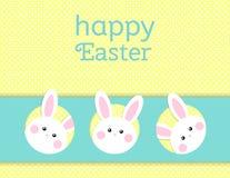 Kartka z pozdrowieniami z z białym Wielkanocnym królikiem Śmieszny królik Wielkanoc królik Obrazy Royalty Free