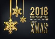Kartka z pozdrowieniami, zaproszenie z szczęśliwym nowym rokiem 2018 i boże narodzenia, ilustracji