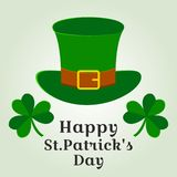 Kartka z pozdrowieniami z zielonym kapeluszem i koniczynami dla Świątobliwego Patrick dnia r?wnie? zwr?ci? corel ilustracji wekto royalty ilustracja