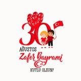 Kartka z pozdrowieniami 30 zwycięstwa august dzień Turcja Przekład: Sierpień 30 świętowanie zwycięstwo i święto państwowe w Turcj royalty ilustracja